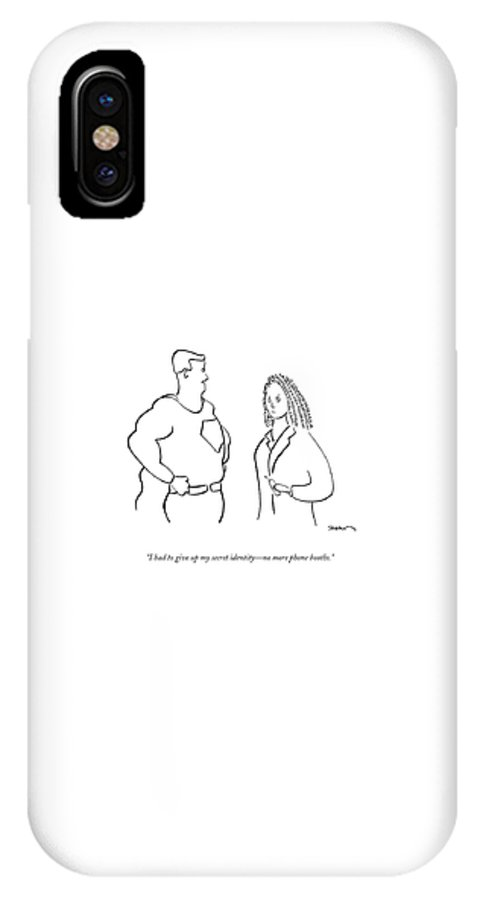 Superheroes IPhone X Case featuring the drawing I Had To Give Up My Secret Identity - No More by Michael Shaw