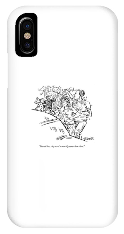Green IPhone X Case featuring the drawing I Hated How They Acted So Much 'greener Than by William Hamilton