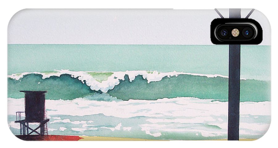 Surf IPhone X Case featuring the painting 14th Street Huntington Beach by Philip Fleischer