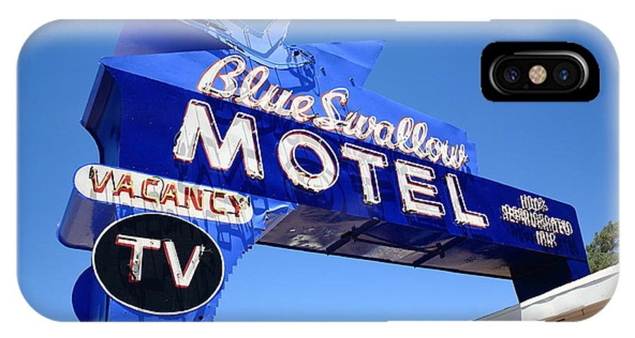 66 IPhone X Case featuring the photograph Route 66 - Blue Swallow Motel by Frank Romeo