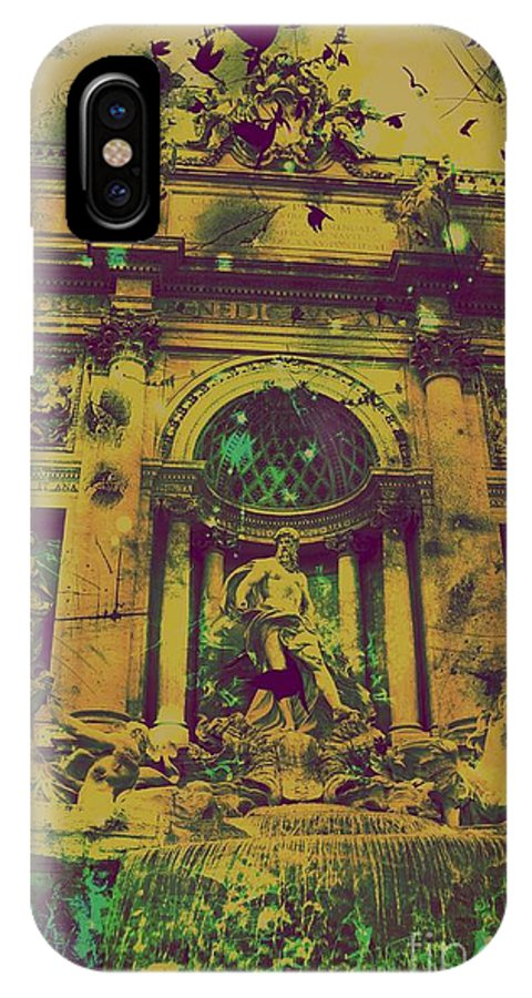 Trevi Fountain IPhone X Case featuring the digital art Trevi Fountain by Marina McLain