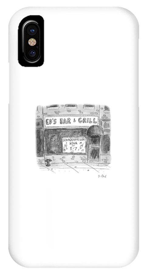 Shadenfreude Hour IPhone X Case featuring the drawing New Yorker November 14th, 2016 by Roz Chast