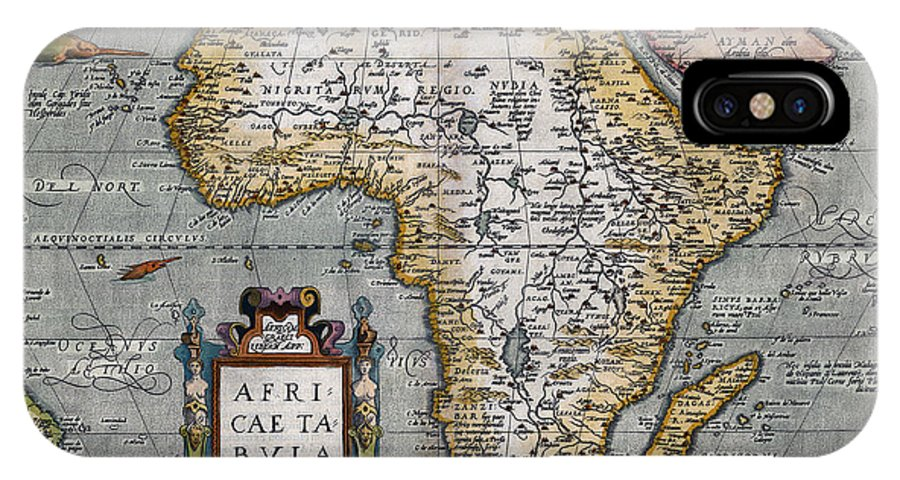 Africa IPhone X Case featuring the photograph 1584 Map Of Mysterious Africa by Daniel Hagerman