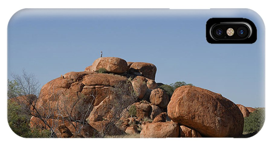 Australia IPhone X Case featuring the digital art Devils Marbles Karlu Karlu by Carol Ailles