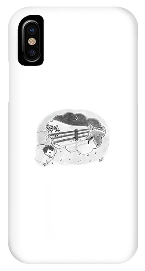 Nightmare IPhone X Case featuring the drawing New Yorker April 2nd, 2007 by Carolita Johnson
