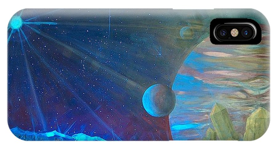 Cosmic Light Series IPhone X Case featuring the painting Cosmic Light Series by Len Sodenkamp
