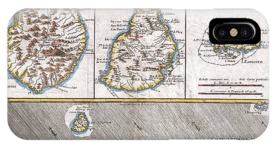 1780 Raynal And Bonne Map Of Mascarene Islands IPhone X Case featuring the photograph 1780 Raynal And Bonne Map Of Mascarene Islands Reunion Mauritius Bourbon by Paul Fearn