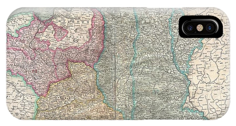 A Nice Example Of John Cary's Rare 1799 Map Of Poland. Covers The Entire Block Of Territory Claimed By The Polish-lithuanian Commonwealth (rzeczpospolita) From The Baltic Sea South To Hungary And Eastward As Far As Russia. This Map Is Designed To Illustrate The Partitioning Of Poland Between Austria IPhone X Case featuring the photograph 1799 Cary Map Of Poland Prussia And Lithuania by Paul Fearn