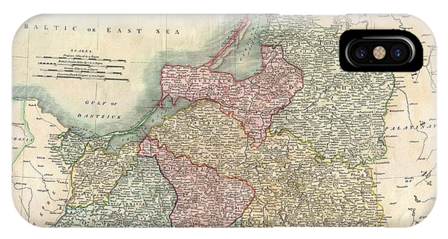 An Extremely Attractive Example Of John Cary's 1799 Map Of Prussia. Covers From Pomerania Eastward Along The Baltic Coast As Far As Poland IPhone X Case featuring the photograph 1799 Cary Map Of Prussia And Lithuania by Paul Fearn