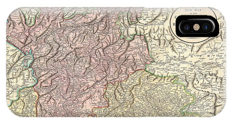 An Extremely Attractive Example Of John Cary's Important 1799 Map Of The County Of Tyrol. Covers Bergamo And Lake Constance Eastward IPhone X Case featuring the photograph 1799 Cary Map Of Tyrol by Paul Fearn