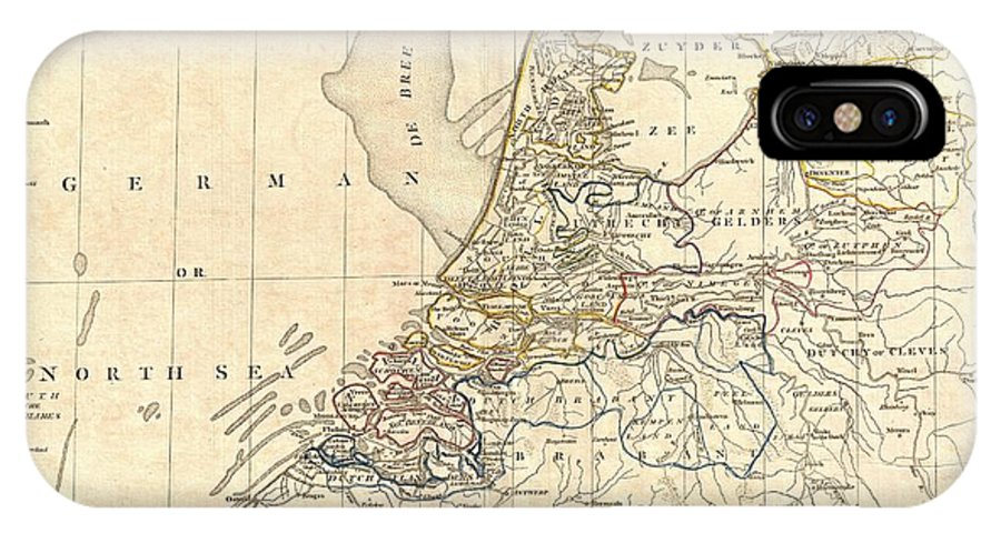 A Fine 1799 Map Of Batavia Or The United Dutch States (the Netherlands) By The English Map Publisher Clement Cruttwell. Map Is Highly Detailed IPhone X Case featuring the photograph 1799 Clement Cruttwell Map Of Holland Or The Netherlands by Paul Fearn
