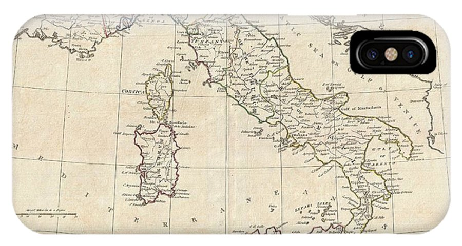 A Fine 1799 Map Of Italy By The English Map Publisher Clement Cruttwell. Shows The Entire Country Including The Islands Of Sicily IPhone X Case featuring the photograph 1799 Clement Cruttwell Map Of Italy by Paul Fearn