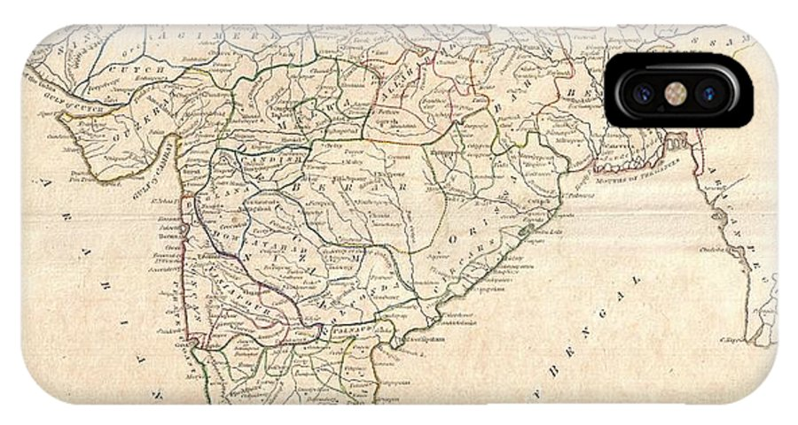 A Fine 1799 Map India IPhone X Case featuring the photograph 1799 Clement Crutwell Map Of Hindoostan by Paul Fearn