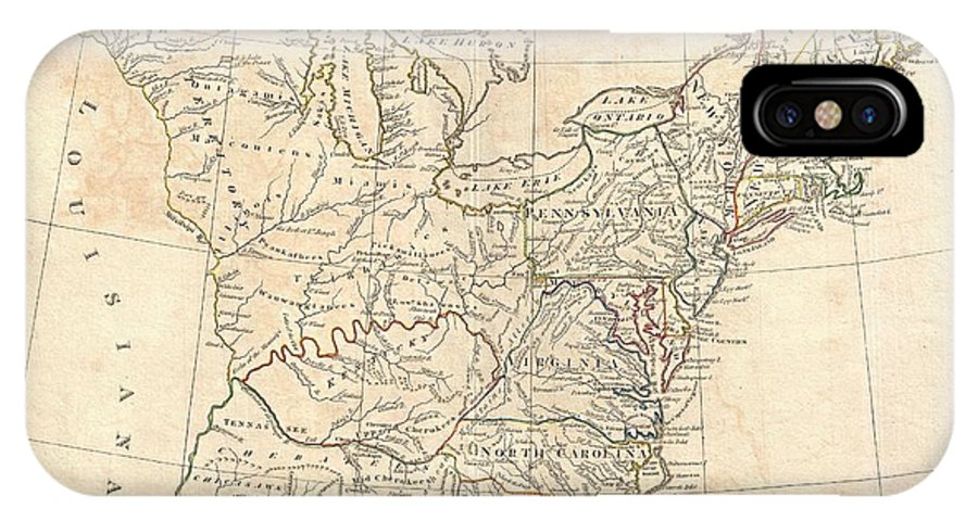 This Is A Highly Unusual And Extremely Scarce 1799 Map Of The United States By The English Map Publisher Clement Cruttwell. Depicts A Post-colonial Pre-louisiana United States Extending From The Mississippi River To The Atlantic Seaboard And From Florida To Canada. Though Clearly Based On Guthrie's C. 1780s Map Of The Same Title IPhone X Case featuring the photograph 1799 Cruttwell Map Of The United States Of America by Paul Fearn