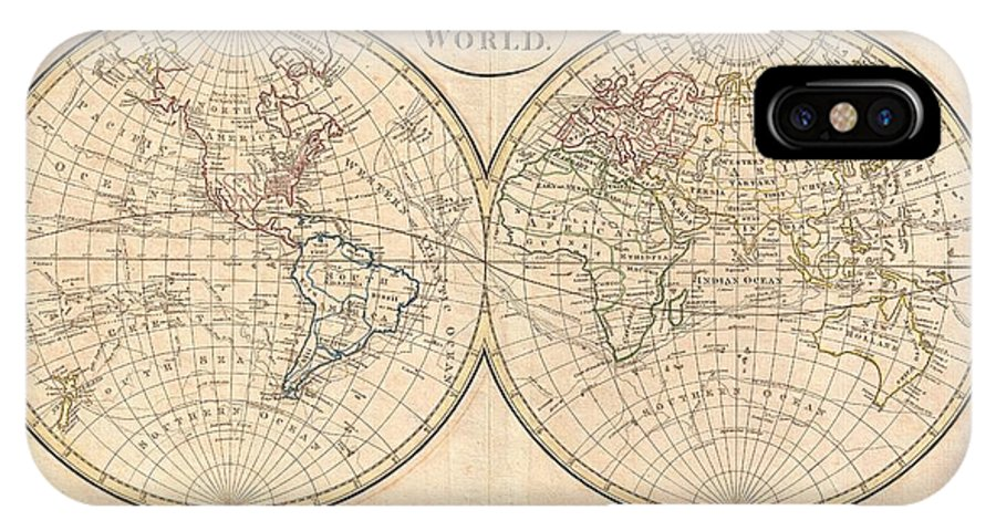A Fine Example Of Clement Cruttwell's 1799 Map Of The World In Two Hemispheres. This Is An Elegant World Map Designed To Illustrate The Activities Of Important Explorers Of The 17th And18th Centuries. The Tracks Of Cook IPhone X Case featuring the photograph 1799 Cruttwell Map Of The World In Hemispheres by Paul Fearn