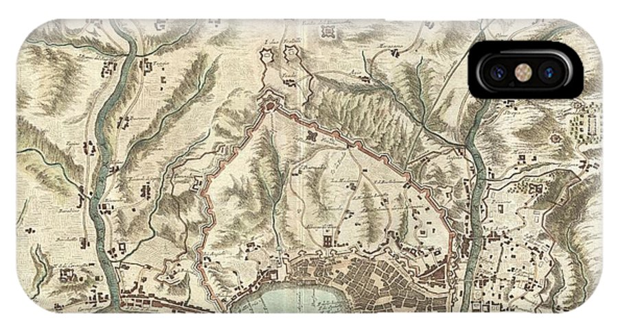 An Beautifully Engraved And Extremely Obscure 1800 Map Of Genoa Or Genova IPhone X Case featuring the photograph 1800 Bardi Map Of Genoa Genova Italy by Paul Fearn
