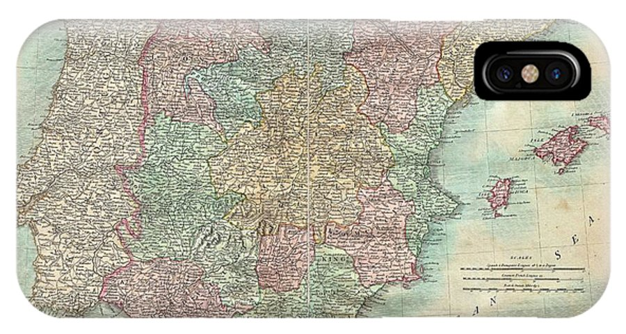 An Extremely Attractive Example Of John Cary's 1801 Map Of Spain And Portugal. Consists Of The Entire Region Of Iberia Including The Islands Of Minorca IPhone X Case featuring the photograph 1801 Cary Map Of Spain And Portugal by Paul Fearn