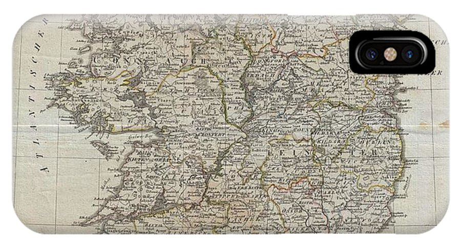 An Uncommon Map Of Ireland Dating To 1804. Though Published By The German Geographical Institute IPhone X Case featuring the photograph 1804 Jeffreys And Kitchin Map Of Ireland by Paul Fearn