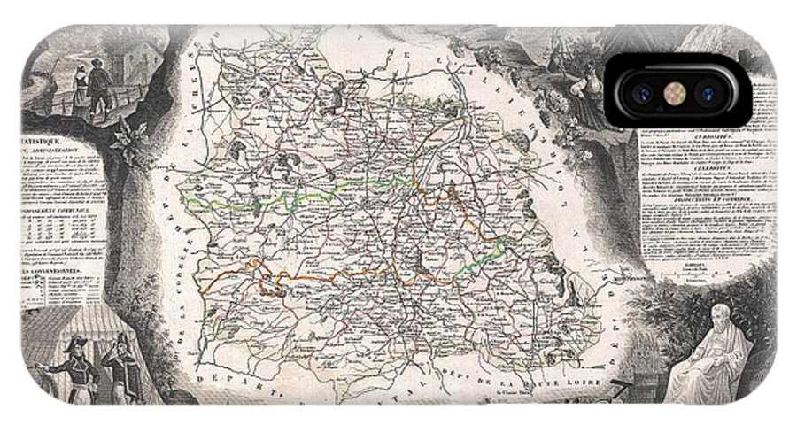 1852 Levasseur Map Of The Department Du Puy De Dome IPhone X Case featuring the photograph 1852 Levasseur Map Of The Department Du Puy De Dome France by Paul Fearn