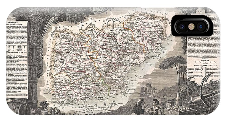 1852 Levasseur Map Of The Department Du Var IPhone X Case featuring the photograph 1852 Levasseur Map Of The Department Du Var France French Riviera by Paul Fearn