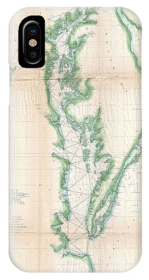 IPhone X Case featuring the photograph 1852 Us. Coast Survey Chart Or Map Of The Chesapeake Bay And Delaware Bay by Paul Fearn