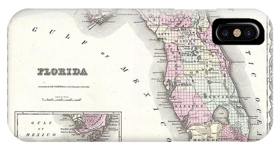 IPhone X Case featuring the photograph 1855 Colton Map Of Florida by Paul Fearn