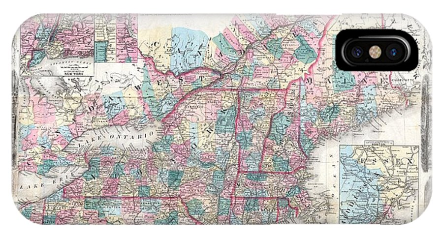 IPhone X Case featuring the photograph 1856 Colton Pocket Map Of New England And New York by Paul Fearn