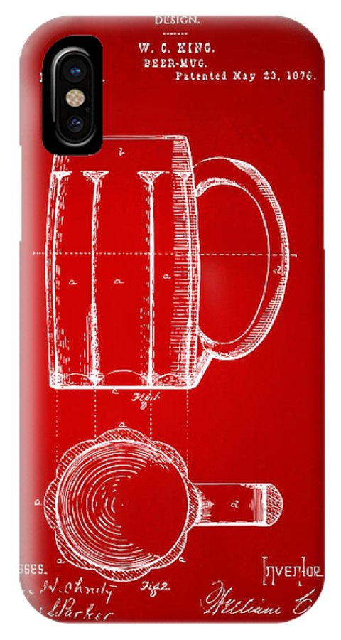 Beer Mug IPhone X / XS Case featuring the digital art 1876 Beer Mug Patent Artwork - Red by Nikki Marie Smith