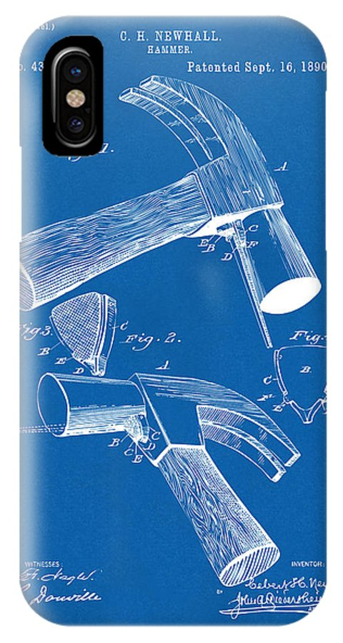 Hammer IPhone X Case featuring the digital art 1890 Hammer Patent Artwork - Blueprint by Nikki Marie Smith