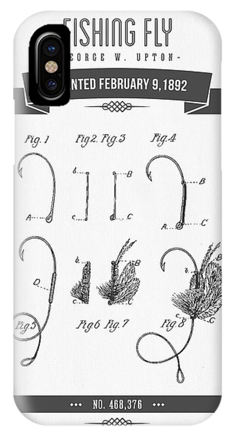 Fishing Fly IPhone X Case featuring the digital art 1892 Fishing Fly Patent Drawing by Aged Pixel