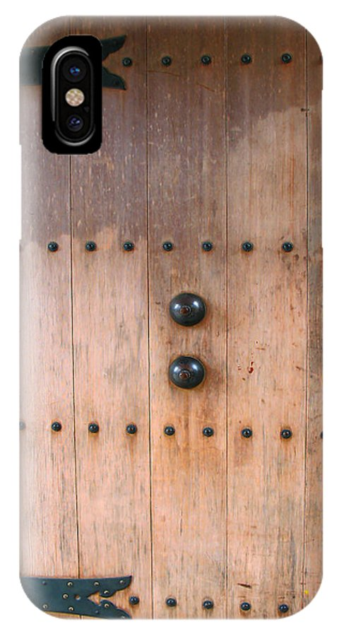 Wood_door IPhone X Case featuring the photograph 1894 Japanese Tea Garden Door - Golden Gate Park San Francisco by Connie Fox