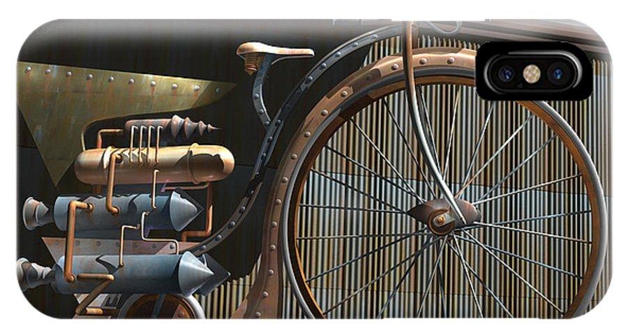 Retro IPhone X / XS Case featuring the digital art 1898 Schwartze Fahrtencycle by Stuart Swartz