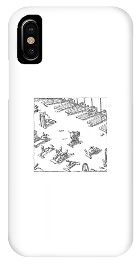 Fitness Olden Days Media  (boy Throwing Newspapers From A Stationary Bike In A Gym.) 121547 Job John O'brien IPhone X Case featuring the drawing New Yorker November 7th, 2005 by John O'Brien