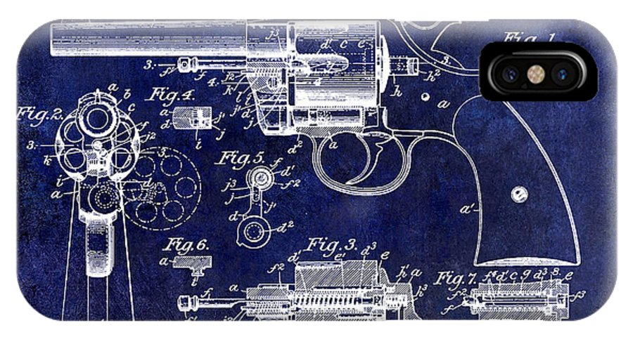 Colt Revolver IPhone X Case featuring the photograph 1903 Colt Revolver Patent Drawing Blue by Jon Neidert