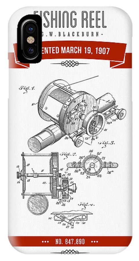 Fishing Reel IPhone X Case featuring the digital art 1907 Fishing Reel Patent Drawing - Red by Aged Pixel