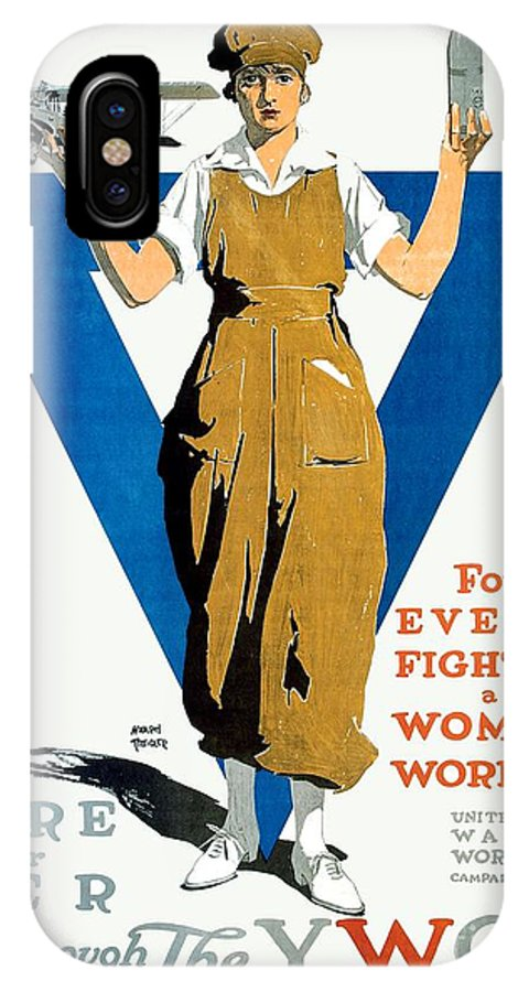1918 IPhone X Case featuring the digital art 1918 - Ywca Patriotic Poster - World War One - Color by John Madison