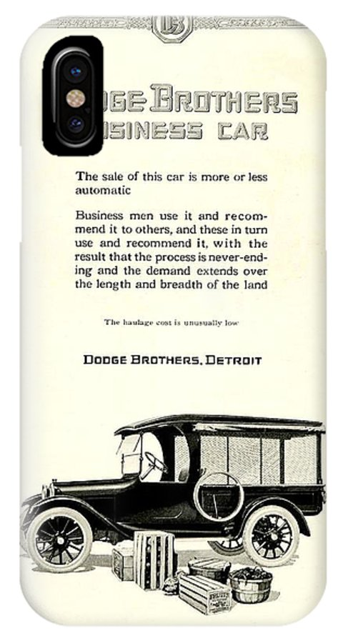 1928 IPhone X Case featuring the digital art 1921 - Dodge Brothers Business Car Truck Advertisement by John Madison