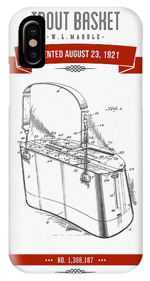 Fishing Basket IPhone X Case featuring the digital art 1921 Trout Basket Patent Drawing - Red by Aged Pixel