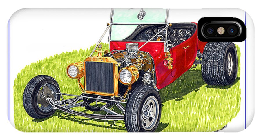 Framed Pen And Ink Images Of Classic Ford Cars. Pen And Ink Drawings Of Vintage Classic Cars. Black And White Drawings Of Cars From The 1920's IPhone X Case featuring the painting T Bucket Ford 1923 by Jack Pumphrey