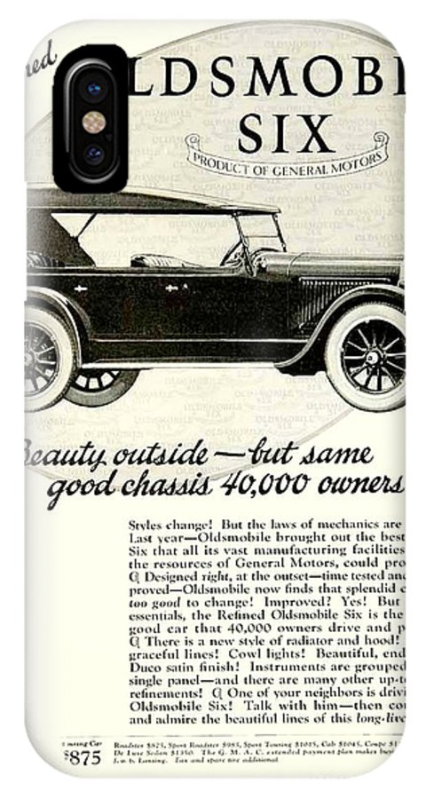 1924 IPhone X Case featuring the digital art 1924 - Oldsmobile Six Automobile Advertisement by John Madison