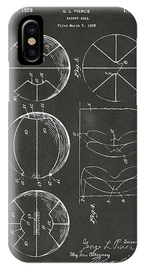 Basketball IPhone X Case featuring the digital art 1929 Basketball Patent Artwork - Gray by Nikki Marie Smith