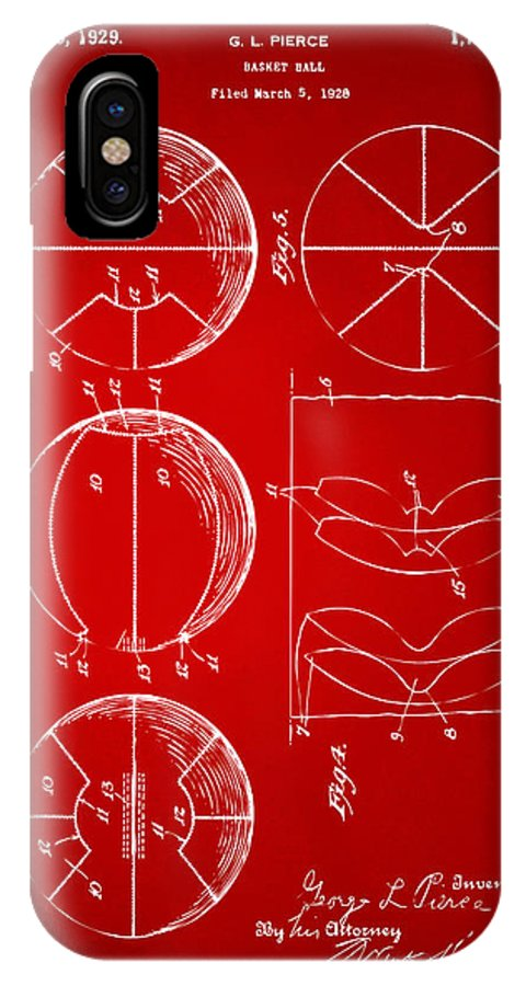Basketball IPhone X Case featuring the digital art 1929 Basketball Patent Artwork - Red by Nikki Marie Smith