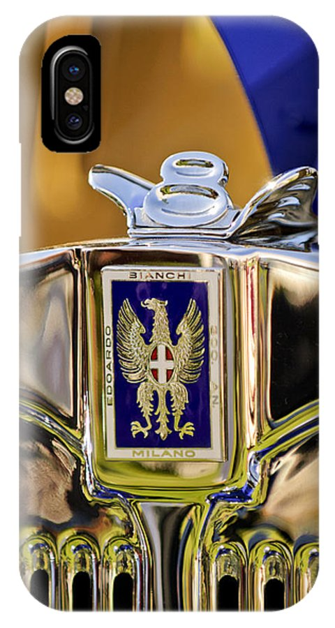 1929 Bianchi S8 Graber Cabriolet IPhone X Case featuring the photograph 1929 Bianchi S8 Graber Cabriolet Hood Ornament And Emblem by Jill Reger