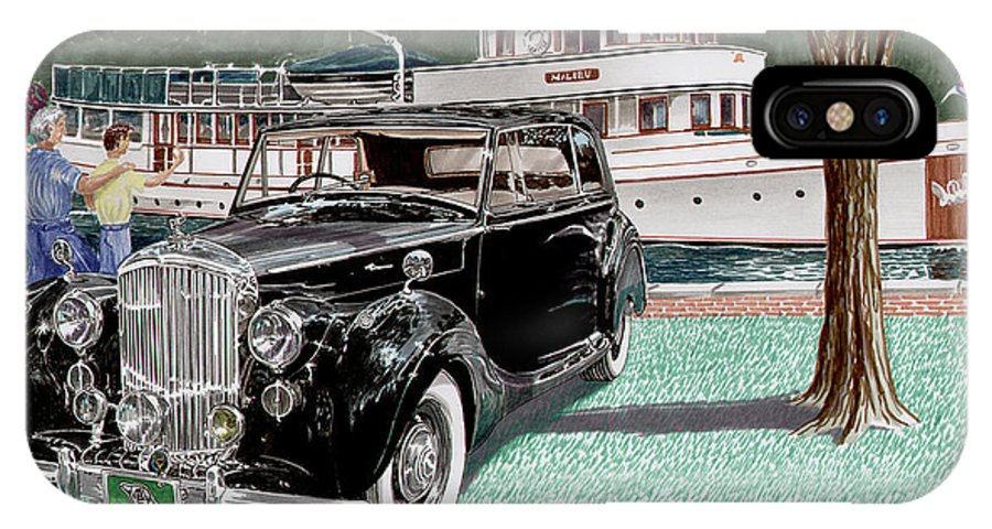 Classic 1936 Bentley British Car Art IPhone X Case featuring the painting Bentley Waving To Malibu by Jack Pumphrey