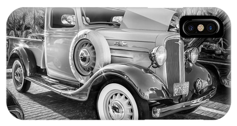 1936 Chevrolet IPhone X Case featuring the photograph 1936 Chevrolet Pick Up Truck Painted Bw  by Rich Franco