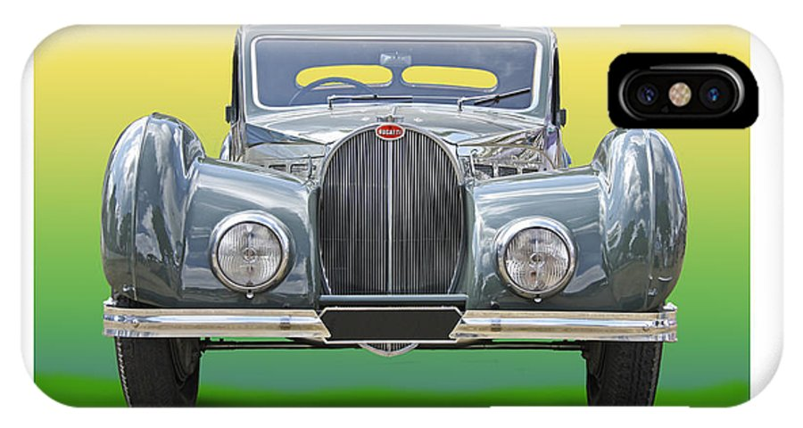 Enhanced Head-on Photo Of 1937 Bugatti Type 57sc With An Atalante Body Finished In Two-tone Green With Pigskin Upholstery IPhone X Case featuring the photograph 1937 Bugatti 57 S C Atalante by Jack Pumphrey
