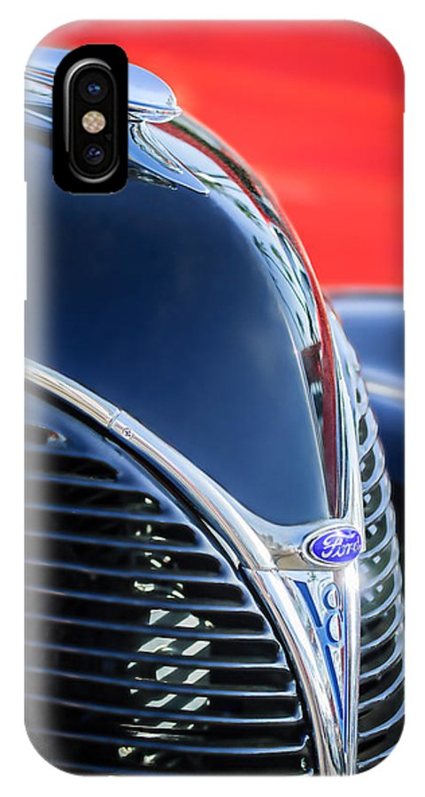 1938 Ford Hood Ornament IPhone X Case featuring the photograph 1938 Ford Hood Ornament - Grille Emblem -0089c by Jill Reger