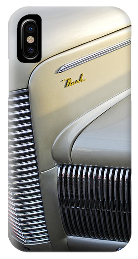 Car IPhone X Case featuring the photograph 1940 Nash Grille by Jill Reger