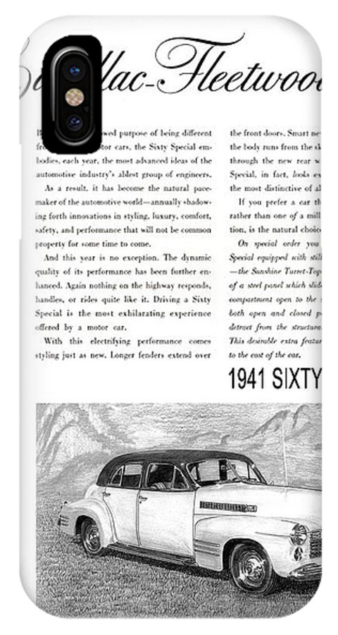 Classic Car Art IPhone X Case featuring the drawing 1941 Cadillac Fleetwood Sedan Vintage Ad by Jack Pumphrey
