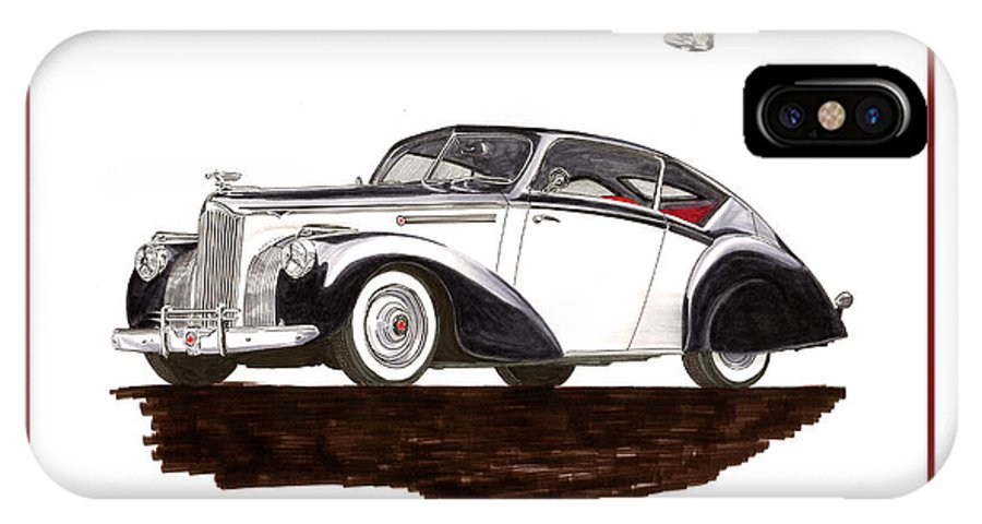 Classic Automotive Art By Jack Pumphrey Of The 1941 Norman's Garage Packard Custom Coupe-shoot IPhone X Case featuring the painting Packard Custom Coupe 120 by Jack Pumphrey